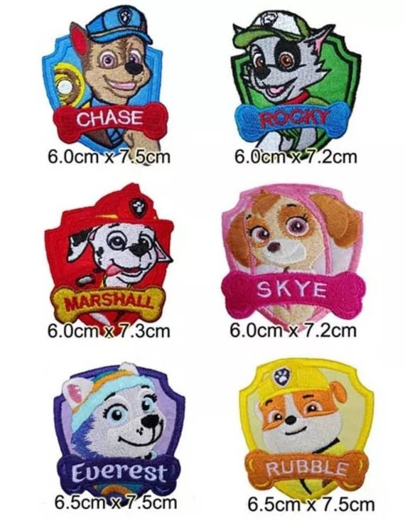 """Iron on patches 6,1 x 7 cm Application Embroided PAW PATROL /""""CHASE/"""" blue"""