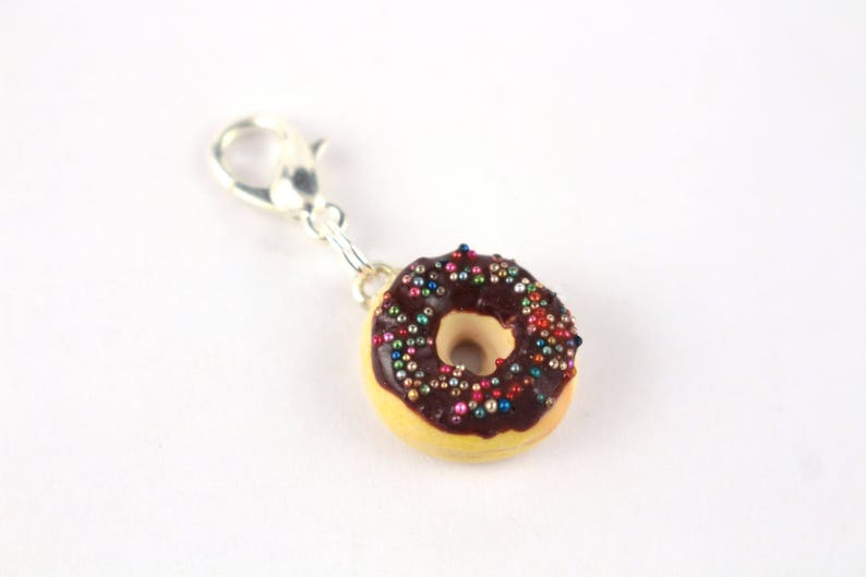 Charm  pendant  charm donut chocolate Fimo  silver plated lobster clasp hook  Kit zipper... jewelry
