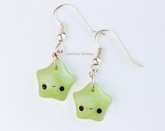 Kawaii green star earrings