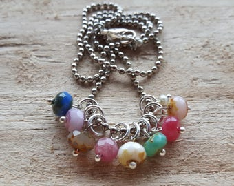 Ball chain necklace with glass beads and pearl nut