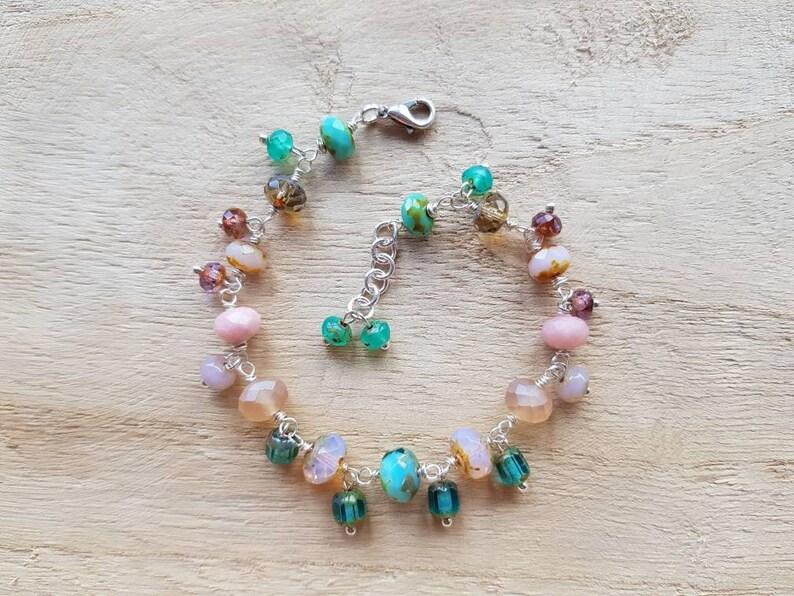 Bracelet of Czech glass beads and semi precious Stone