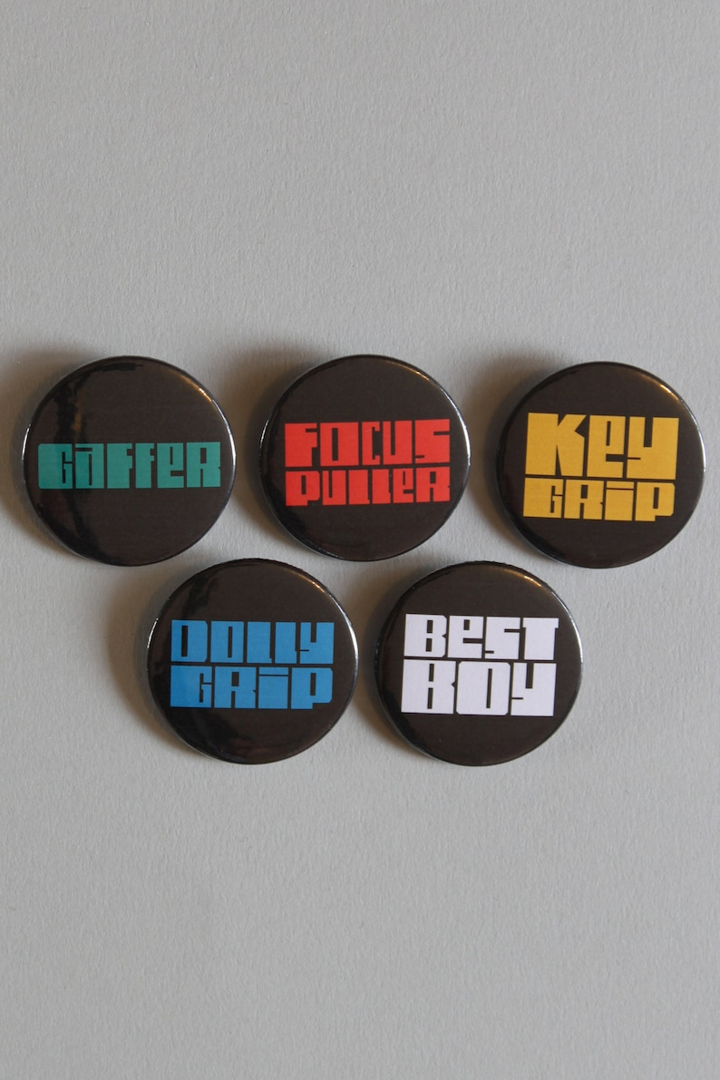 Film Crew Job Titles: 38mm button badges