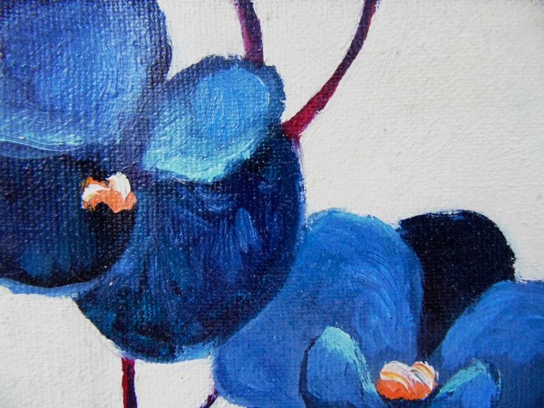 Orchid mini original oil painting 4 x 4 tropical jungle plant blue flower Colombia