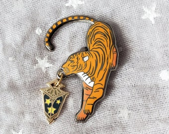 GIANT tiger pin enamel enamel pristine condition 3.5 inches Free shipping to US and Canada stylized design Cute