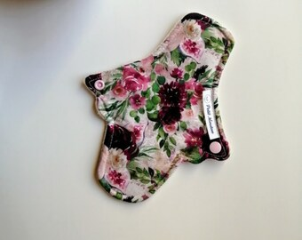 Washable sanitary towel with a pink flower pattern - No shipping