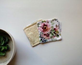 Ecological washable wipes flowers for face, pack of 2