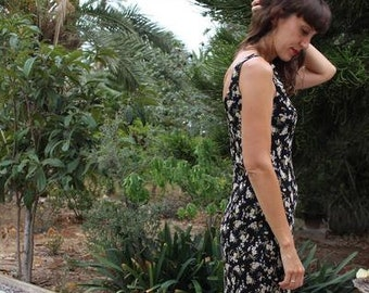Vintage 90s floral high neck midi tank dress.