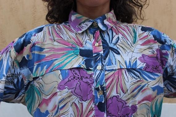 Vintage Cabrais button down shirt with floral patt