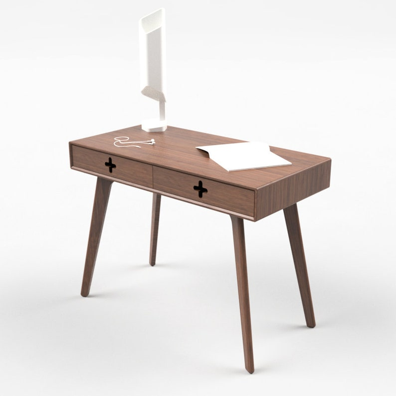 Walnut Vanity Table Modern Dressing Table With Drawers Etsy
