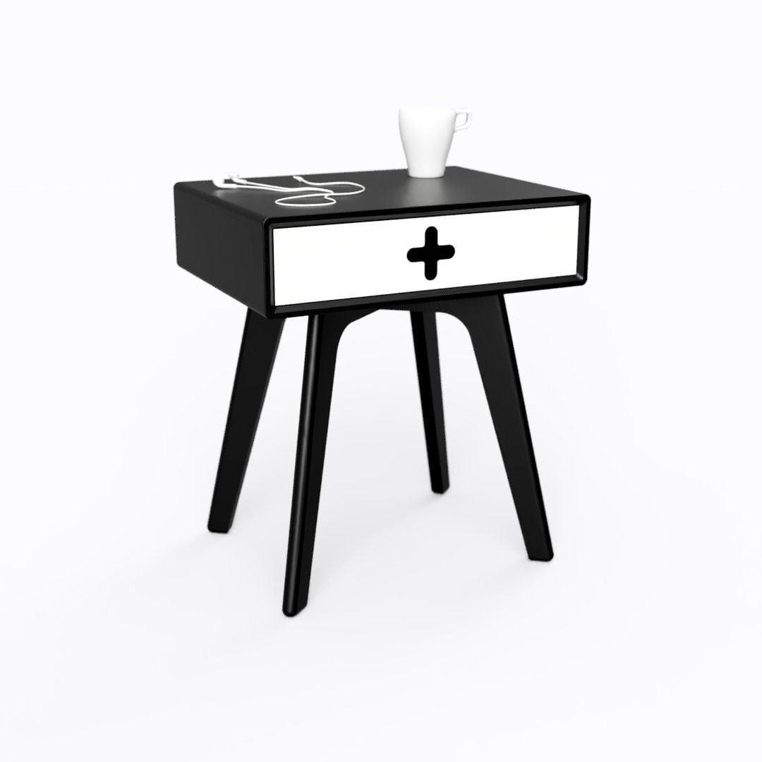 Black Nightstand Black Bedside Table In Ebonized Walnut With White Drawer Minimalist Modern Design