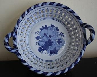 Ceramic Harvest Bowl - Blue and White