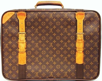 Authentic Vintage Louis Vuitton Brown Monogram Canvas Leather Luggage Suitcase Weekend/Travel Bag