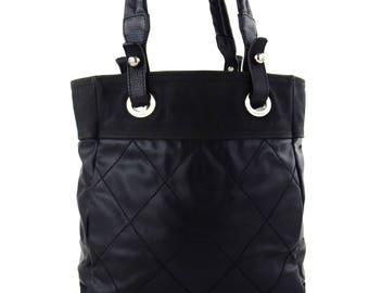 Vintage Chanel Cambon Quilted Black Leather Shoulder Bag