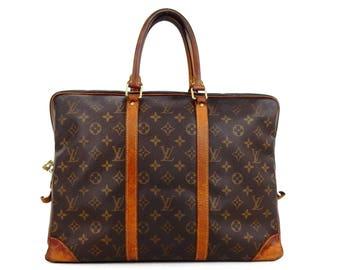 1435845e5111 Louis Vuitton Porte Documents Voyage Briefcase Business Brown Monogram  Canvas Leather Laptop Bag