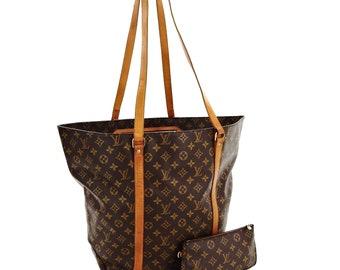 3d120e9d4f0e Authentic Vintage Louis Vuitton Sac Shopping GM Brown Monogram Canvas  Leather Shoulder Bag w  Accessory Bag