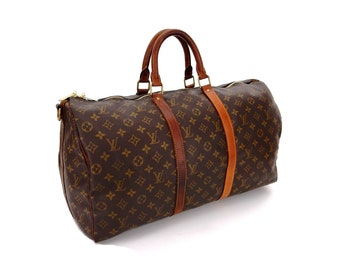 229c6936f47d Vintage Louis Vuitton Brown Monogram Canvas Leather Keepall 50 Weekend Travel  Bag