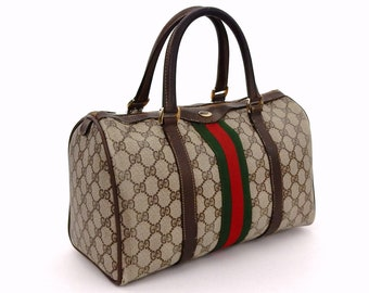Authentic Vintage Gucci Supreme Web GG Signature Monogram Canvas Leather  Small Hold All Duffle Tote Handbag ef69e790e449