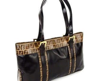 045a58856f22 Authentic Vintage Fendi Zucca Monogram Patent Leather Shoulder Bag