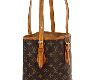 443bbf6b73 Authentic Vintage Louis Vuitton Bucket PM Brown Monogram Canvas Leather Shoulder  Bag