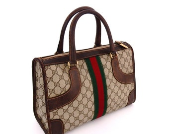 ec828c73b4cb Authentic Vintage Gucci Supreme Web GG Monogram Canvas Leather Boston Tote  Doctor Style Bag