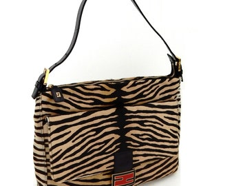 Authentic Vintage Fendi Zebra Print Pony Fur Shoulder Bag Italy 6d5e8847f1100