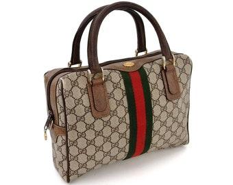 cde0988248e Authentic Vintage Gucci Supreme Web GG Signature Monogram Canvas Leather  Hold All Duffle Tote Handbag