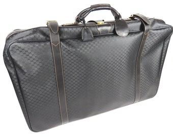 c0c56f86432 Authentic Vintage Gucci Full Size Suitcase Luggage Black Gg Monogram Canvas  Leather Weekend Travel Bag