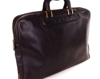 fe3176f8e Vintage Gucci Brown Calf Leather Business Attache Briefcase Laptop Bag