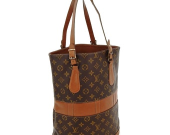 Vintage Louis Vuitton Bucket USA Brown Monogram Canvas Leather Shoulder Tote  Bag 2ecee8df202cb