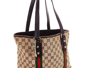 773944653592 Authentic Vintage Gucci Brown Web GG Monogram Canvas Leather Tote Shoulder  Bag