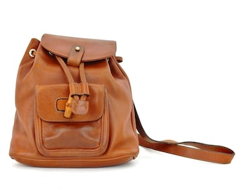 dd01bd6e69c Authentic Vintage Gucci Brown Calfskin Bamboo Backpack Sling Shoulder Bag