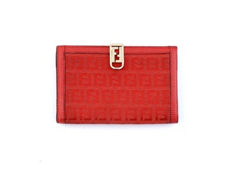 72e20ba50b Authentic Vintage Fendi Red Zucca FF Monogram Canvas Epi Leather Clutch  Wallet Italy