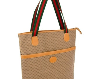 d52360ee6193 Rare Authentic Gucci Vintage Supreme Web GG Logo Canvas Leather Shoulder  Tote Shopper Bag