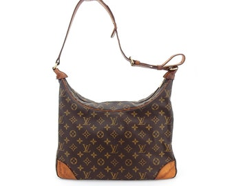 Authentic Vintage Louis Vuitton Boulogne Gm Brown Monogram Canvas Leather  Shoulder Bag c09775e573200