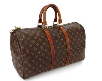 e5e73d495478 Authentic Vintage Louis Vuitton Brown Monogram Canvas Leather Keepall 45  Weekend Travel Duffle Bag