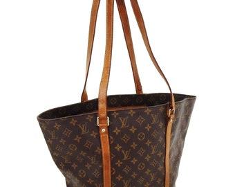 03127890c7580 Authentic Vintage Louis Vuitton Sac Shopping GM Brown Monogram Canvas  Leather Shoulder Bag