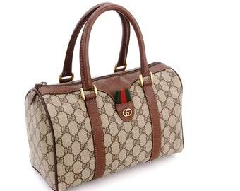 e1e99e8db8acdb Authentic Vintage Gucci Supreme Web GG Signature Monogram Canvas Leather  Small Hold All Duffle Tote Handbag