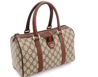 72d4cb23e87 Authentic Vintage Gucci Supreme Web GG Signature Monogram Canvas Leather  Small Hold All Duffle Tote Handbag