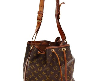 35c2914a286e Authentic Vintage Louis Vuitton Brown Monogram Canvas Leather Noe Drawstring  Shoulder Bag