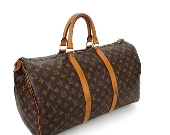 3080c925fa76 Vintage Louis Vuitton Brown Monogram Canvas Leather Keepall 50 Weekend Travel  Bag