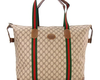 7dec6674a980 Authentic Vintage Gucci Supreme Web GG Signature Monogram Canvas Leather  Shoulder Oversized Shopper Tote Bag
