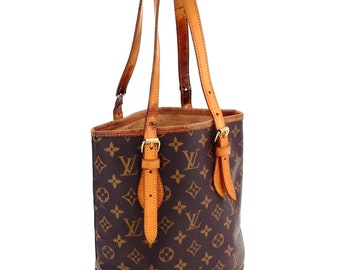 1f71d30541ef Authentic Vintage Louis Vuitton Bucket Pm Brown Monogram Canvas Leather  Shoulder Bag