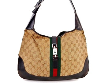 Authentic Vintage Gucci Jackie Hobo Web GG Monogram Canvas Leather Shoulder  Bag 9d7095d399595