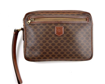 5b266dc05659 Authentic Vintage Céline Brown Macadam Canvas Leather Makeup Travel  Toiletry Dopp Cosmetic Bag Italy