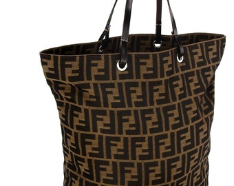 bf680eaa56a Authentic Vintage Fendi Zucca Monogram Canvas Leather Shoulder Bag