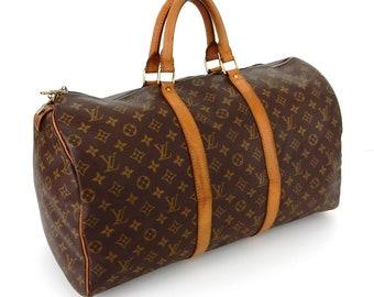 c08bdf7006f Vintage Louis Vuitton Brown Monogram Canvas Leather Keepall 50  Weekend Travel Bag
