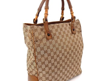 1f889a47fba8 Vintage Gucci Carry All Brown Gg Monogram Canvas Leather Vertical Shoulder  Tote Bag