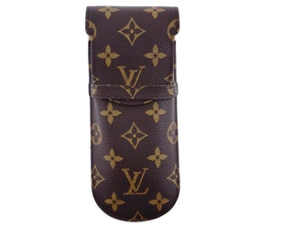 61b5e7203c0 Louis Vuitton Brown Vintage Etui Lunettes Rabat Glasses Case Monogram  Canvas Leather