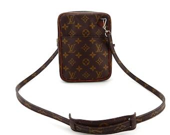 77b3fc44b231 Authentic Vintage Louis Vuitton Brown Monogram Canvas Leather Danube Crossbody  Bag