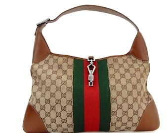 97ea8dad00eb Authentic Vintage Gucci Jackie Hobo Web GG Monogram Canvas Leather Shoulder  Bag